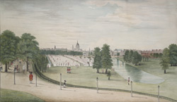 A view of the encampment of guards in St James' Park